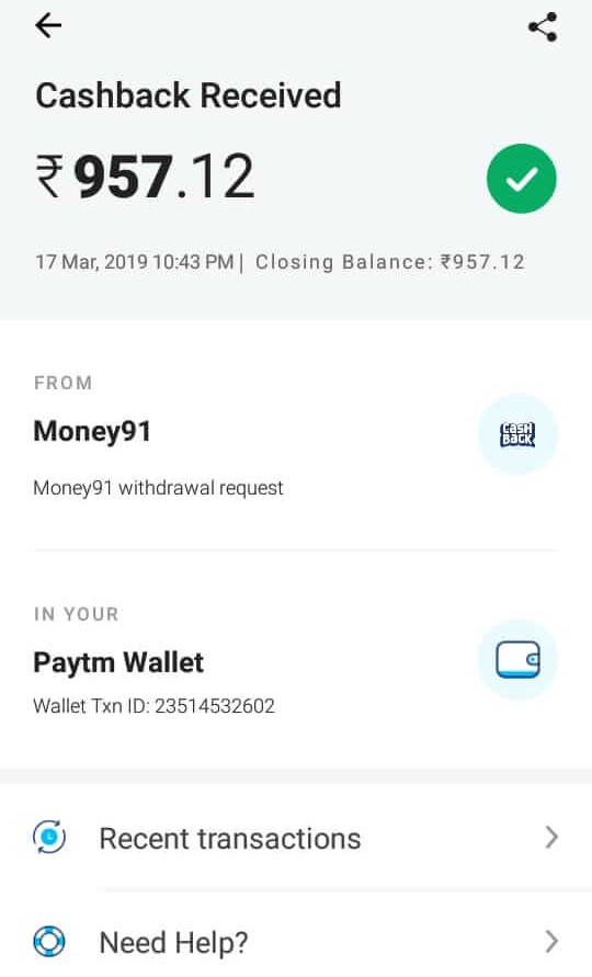 Mall91 App Payment Proof