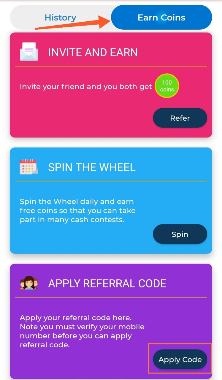 Apply Referral Code