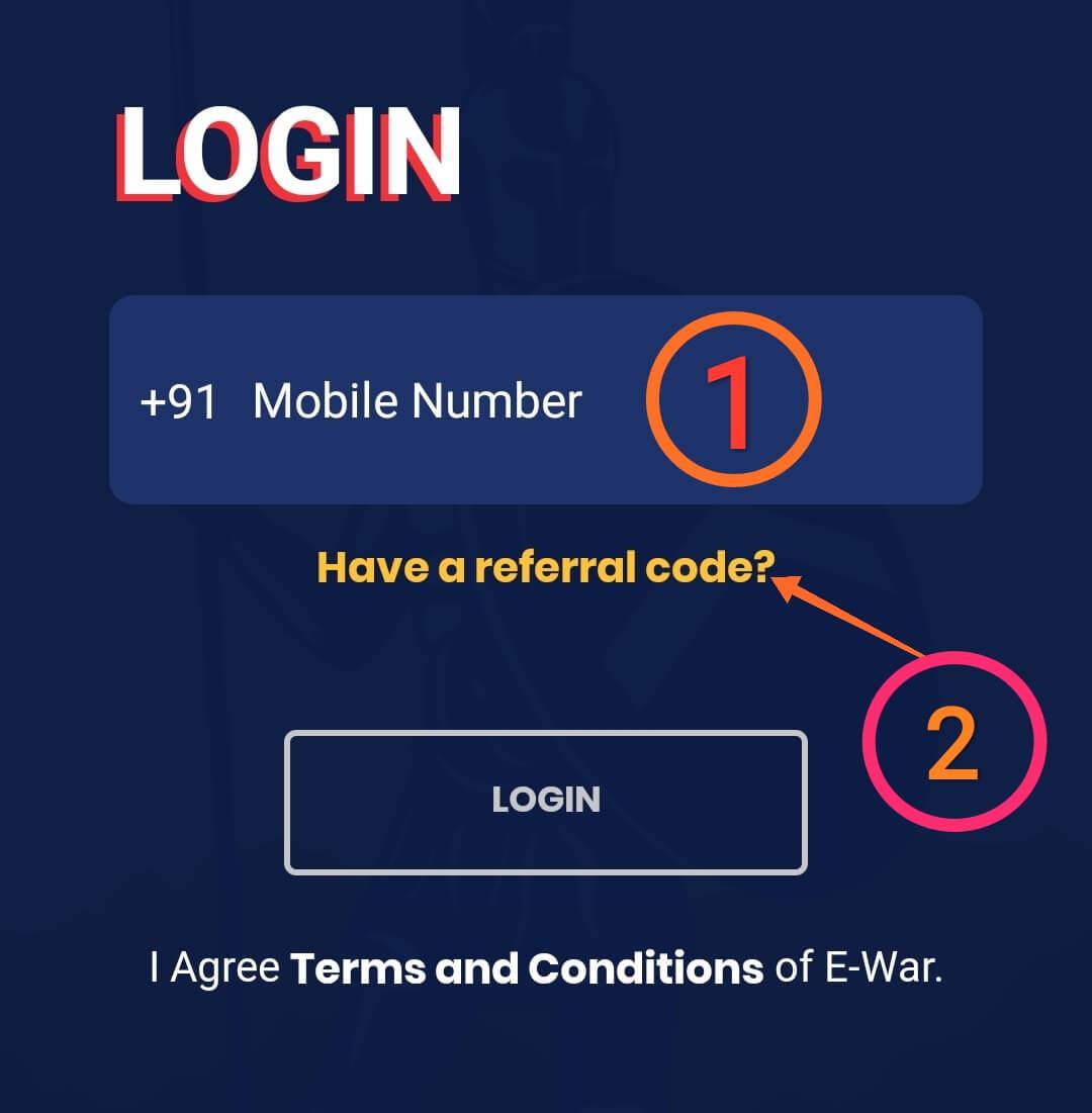 Enter Phone Number In EWar App