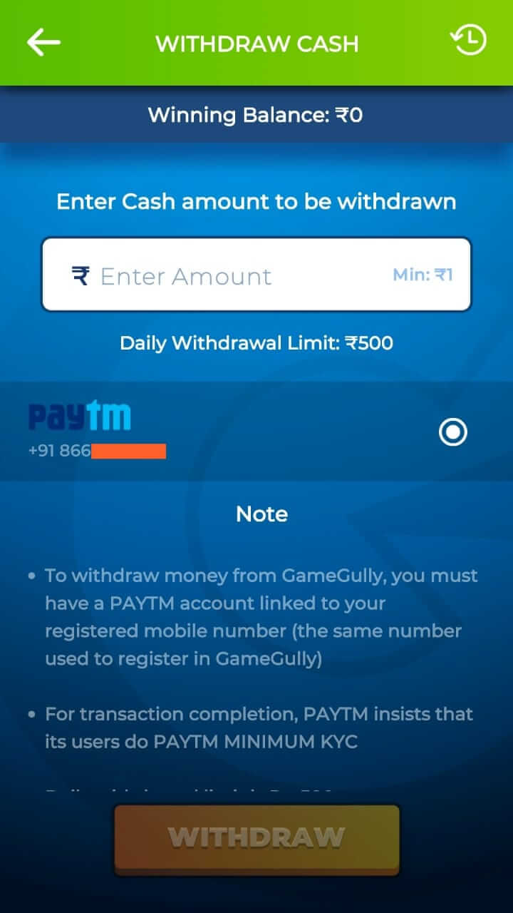 Withdraw Money From GameGully Pro App